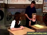 Schoolgirl dominas spank teacher