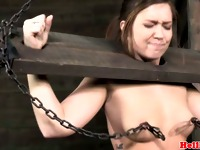 Bondage stocked sub gets flogged
