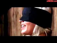 Blonde Girl Blindfolded And Bondaged Whipped By Mistress Sucking Dildo In The Dungeon