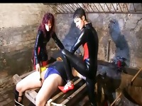 Two hot dominas teasing their slave