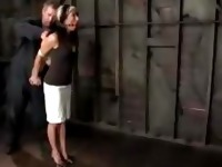 Girl With Tied Arms Spanked Weights To Nipples Whipped In The Dungeon