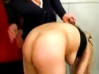 Blonde Girl With Afro Hair Getting Her Tits Rubbed Spanked Getting Long Toy To Her Ass By Mistress In The Room
