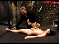 Girl Getting Tied Up Spanked With Stick Pussy Stimulated With Vibrator By Master In The Dungeon