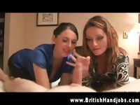 Two hot britsh sluts spanking slong in a hotel room