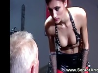 Young dominatrix whips her patients into licking her clit