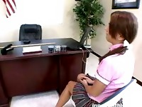 Redhead schoolgirl takes panties down for a nice hard spanking