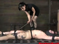 Tattooed sub spanked and iceplay