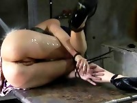 BDSM Slave Elise Graves Pervert Enema Punishment Outdoor Whipping and Bondage