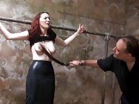 Barn slaves outdoor domination and harsh whipping