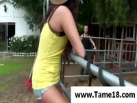 Teen hottie gets ass spanked