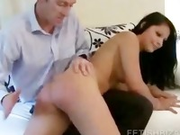 Stripping chick being ass spanked