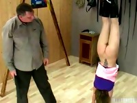 Sexy brunette hoe is turned upside down part1