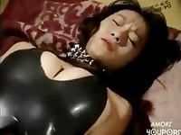 Kinky asian gets her tight latex ass spanked