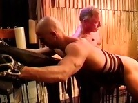 Caning my hot buddys muscle butt.